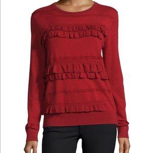 "DVF ""Benni"" crewneck wool-blend red sweater"